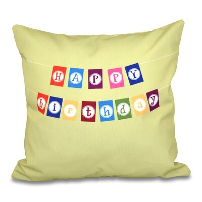 Happy Birthday Print Throw Pillow Size: 20 H x 20 W, Color: Green