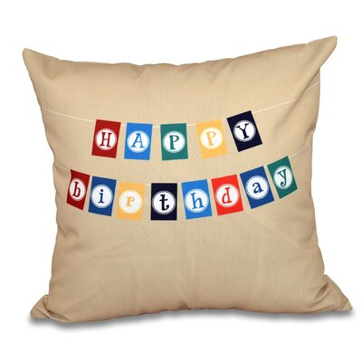 Happy Birthday Print Throw Pillow Size: 26 H x 26 W, Color: Taupe