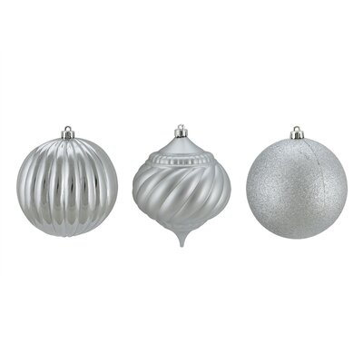 3 Piece Shatterproof Onion and Ball Christmas Ornament Set Color: Silver