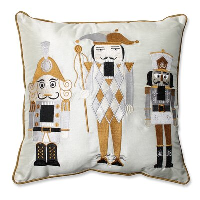 Holiday Embroidered Nutcrackers Throw Pillow Color: Gold / Silver