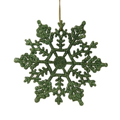 Glitter Snowflake Christmas Ornament Color: Christmas Green