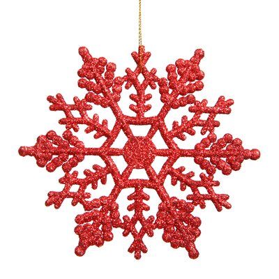Glitter Snowflake Christmas Ornament Color: Red
