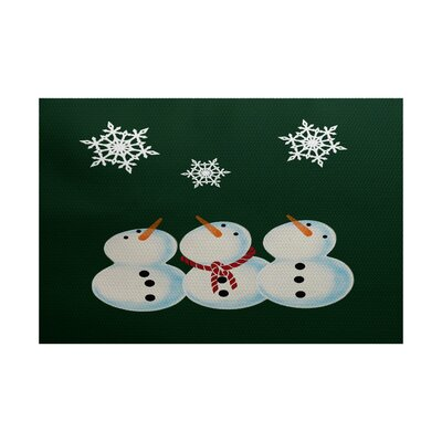 Christmass Dark Green Indoor/Outdoor Area Rug Rug Size: 2 x 3