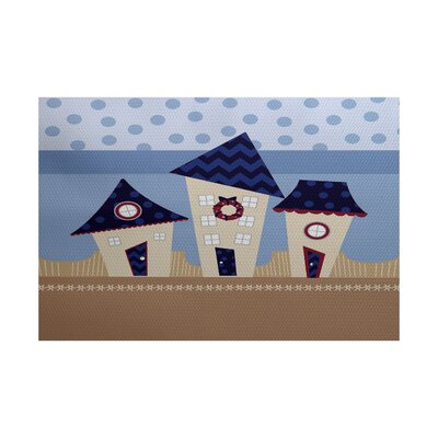 Christmass Navy Blue Indoor/Outdoor Area Rug Rug Size: 5 x 7