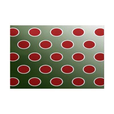 Green Polka Dot Indoor/Outdoor Area Rug Rug Size: 5 x 7