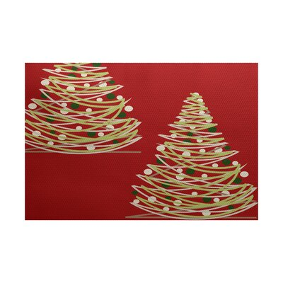 Christmass Red Indoor/Outdoor Area Rug Rug Size: 5' x 7'