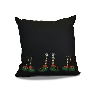 Christmas Elf Feet Outdoor Throw Pillow Size: 18 H x 18 W