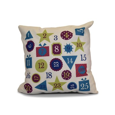 Advent Calendar Outdoor Throw Pillow Size: 16 H x 16 W, Color: Royal Blue
