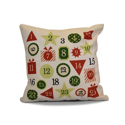 Advent Calendar Outdoor Throw Pillow Size: 18 H x 18 W, Color: Red