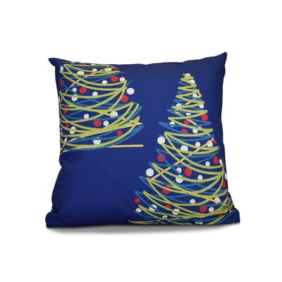 Christmas Tree Throw Pillow Color: Royal Blue, Size: 18 H x 18 W