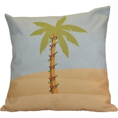 Decorative Christmas Print Outdoor Throw Pillow Color: Light Blue, Size: 18 H x 18 W