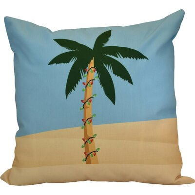 Decorative Christmas Print Outdoor Throw Pillow Size: 18 H x 18 W, Color: Blue