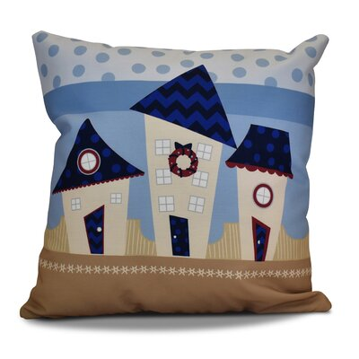 Decorative Holiday Geometric Print Throw Pillow Color: Navy Blue, Size: 18 H x 18 W