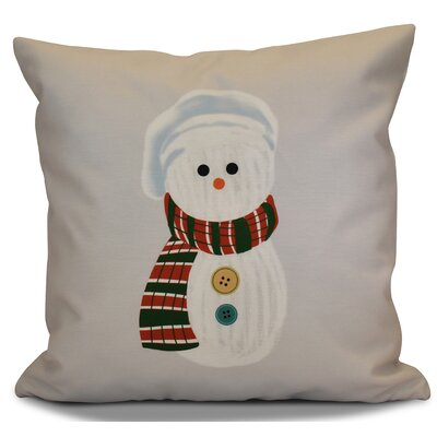 Sock Snowman Outdoor Throw Pillow Size: 16 H x 16 W, Color: Gray