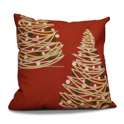 Christmas Tree Outdoor Throw Pillow Size: 18 H x 18 W, Color: Red