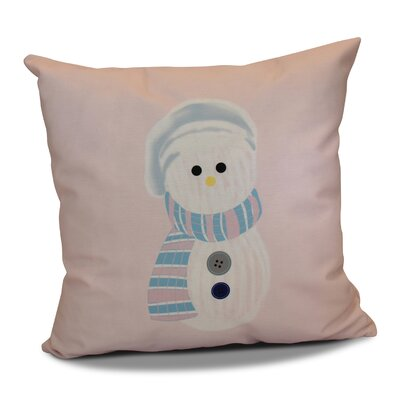 Sock Snowman Outdoor Throw Pillow Size: 18 H x 18 W, Color: Pale Pink