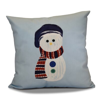 Sock Snowman Outdoor Throw Pillow Size: 20 H x 20 W, Color: Light Blue