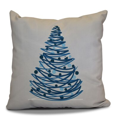 Christmas Tree Outdoor Throw Pillow Color: Blue, Size: 18 H x 18 W