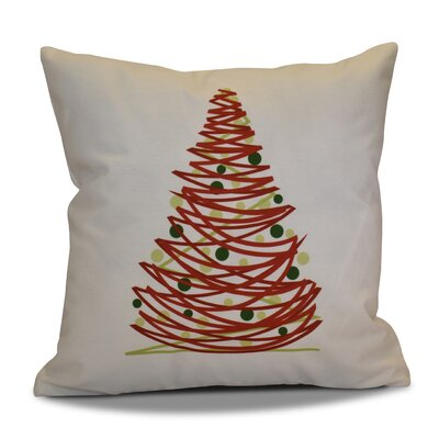 Christmas Tree Outdoor Throw Pillow Size: 20 H x 20 W, Color: Red