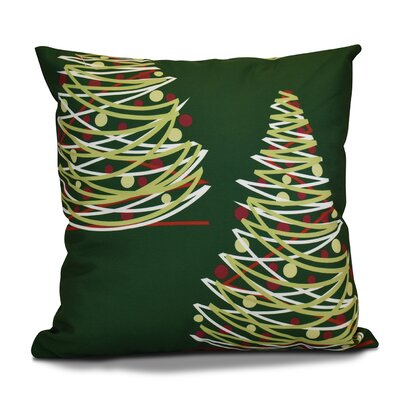 Christmas Tree Outdoor Throw Pillow Size: 18