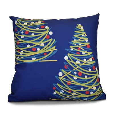 Christmas Tree Outdoor Throw Pillow Size: 16 H x 16 W, Color: Royal Blue