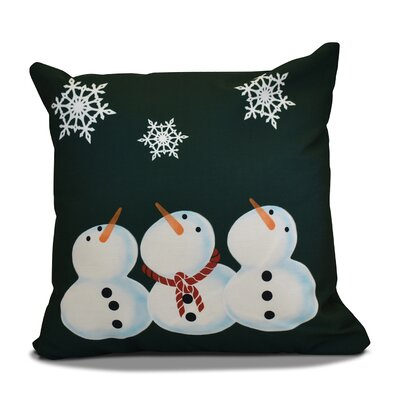 Decorative Snowman Print Outdoor Throw Pillow Size: 16 H x 16 W, Color: Dark Green