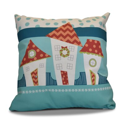 Decorative Christmas Print Outdoor Throw Pillow Size: 18 H x 18 W, Color: Coral