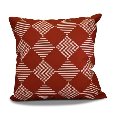 Geometric Outdoor Throw Pillow Size: 18 H x 18 W, Color: Red