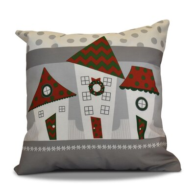 Decorative Christmas Print Outdoor Throw Pillow Size: 16 H x 16 W, Color: Red