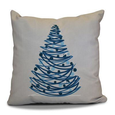 Christmas Tree Throw Pillow Size: 16 H x 16 W, Color: Gray