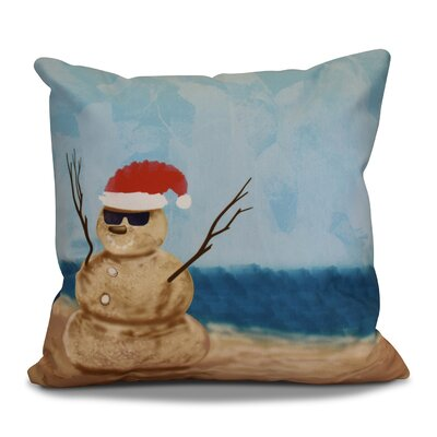 Decorative Snowman Print Outdoor Throw Pillow Size: 18 H x 18 W