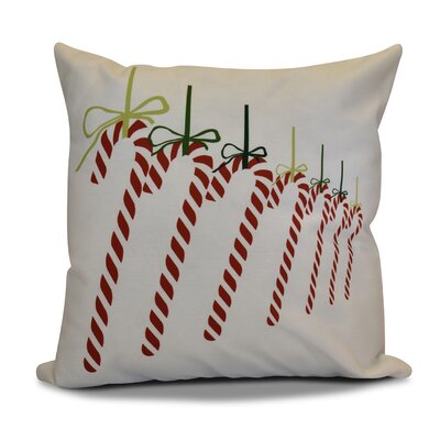 Candy Canes Throw Pillow Size: 18 H x 18 W, Color: Green