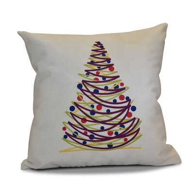 Christmas Tree Throw Pillow Size: 18 H x 18 W, Color: Purple