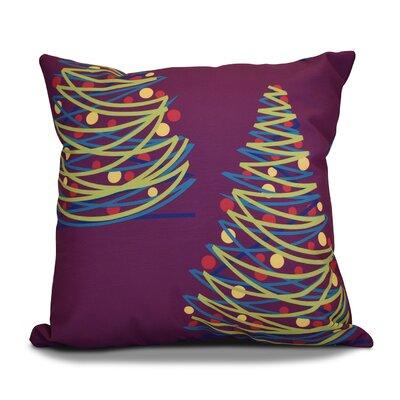 Christmas Tree Throw Pillow Size: 16 H x 16 W, Color: Purple