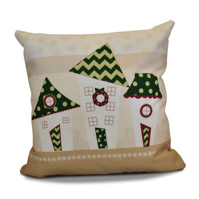 Decorative Christmas Print Outdoor Throw Pillow Size: 16 H x 16 W, Color: Green