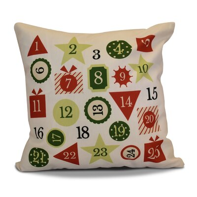 Advent Calendar Throw Pillow Color: Red, Size: 26 H x 26 W