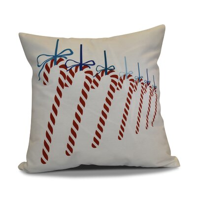 Candy Canes Throw Pillow Color: Teal, Size: 18 H x 18 W