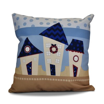 Decorative Christmas Print Outdoor Throw Pillow Color: Navy Blue, Size: 18 H x 18 W