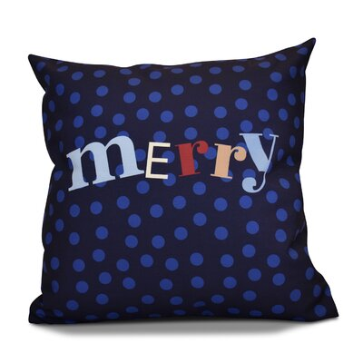 Merry Decorative Word Print Outdoor Throw Pillow Size: 18 H x 18 W, Color: Navy Blue