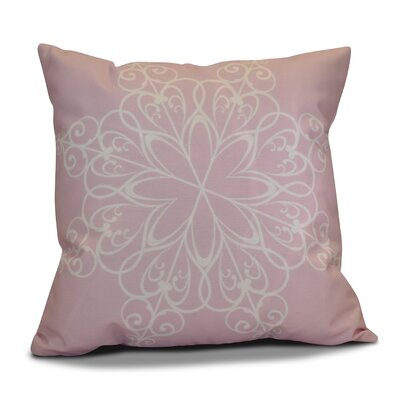 Decorative Snowflake Print Outdoor Throw Pillow Size: 16 H x 16 W, Color: Light Pink