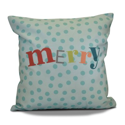 Merry Decorative Word Print Outdoor Throw Pillow Size: 18 H x 18 W, Color: Aqua