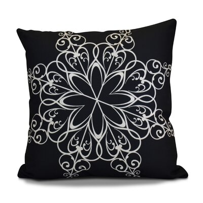 Decorative Snowflake Print Outdoor Throw Pillow Size: 16 H x 16 W, Color: Navy Blue