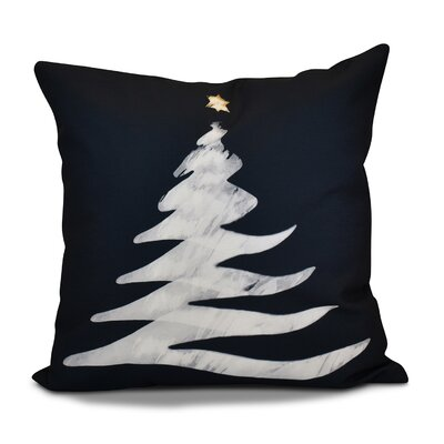 Decorative Christmas Tree Print Outdoor Throw Pillow Color: Navy Blue, Size: 18 H x 18 W