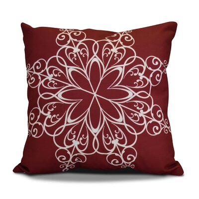 Decorative Snowflake Print Outdoor Throw Pillow Size: 16 H x 16 W, Color: Cranberry
