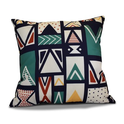 Decorative Geometric Throw Pillow Color: Navy Blue, Size: 18 H x 18 W