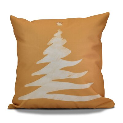 Decorative Christmas Tree Print Outdoor Throw Pillow Size: 16 H x 16 W, Color: Gold