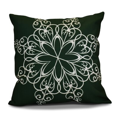 Decorative Snowflake Print Outdoor Throw Pillow Size: 18 H x 18 W, Color: Dark Green