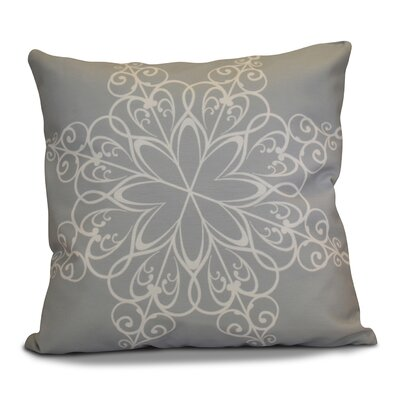 Decorative Snowflake Print Outdoor Throw Pillow Size: 16 H x 16 W, Color: Gray