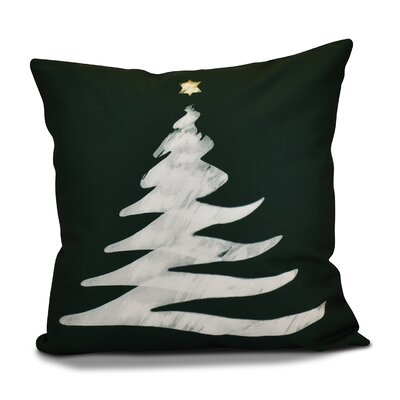 Decorative Christmas Tree Print Outdoor Throw Pillow Size: 18 H x 18 W, Color: Dark Green