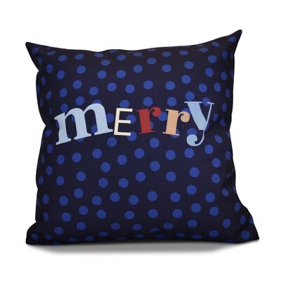 Merry Christmas  Decorative Holiday Word Print Throw Pillow Color: Navy Blue, Size: 26 H x 26 W